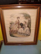 La Mode Illustree Leroy Imp. Paris Reproduction Print from 1862 #326 Wood Frame