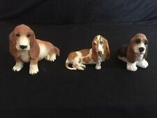 3 Basset Hound Statuettes, Two made in Italy, one in Usa. Very Good condition
