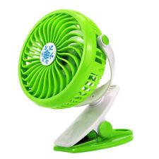 Battery Operated Clip on Fan Mini Desk Fan Portable Handheld Powered Green