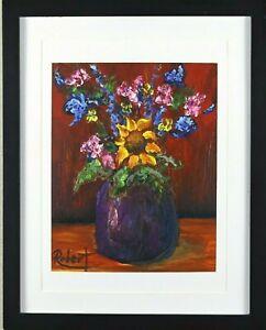 Sunflower Center of Attention Print Hand Embellished Signed Robert COA - Framed
