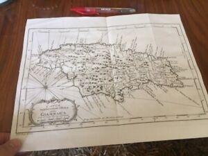 JAMAICA GIAMMAICA MAP ANTIQUE ENGRAVING COPPER PRINT 35 x 25 cms ! 1763 !