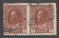 "Canada PAIR Scott #114  7 cent red brown ""Admiral""   F **"