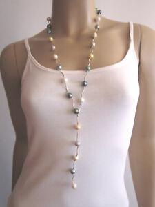 Modekette Damen Hals Kette Y Kette Modeschmuck lang Perlen Silber Pastell