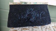 Vintage  Delill Handmade in Japan Abalone and Midnight Blues Beaded Clutch Purse