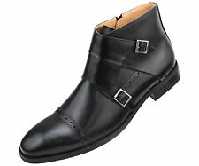 Amali Mens Dress Shoe Double Monk Strap Cap Toe Demi Boot Inside Zipper : Caper