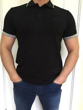Hugo Boss Mens Polo Top Tshirt Black Size L New -Green Label///