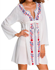 AU SELLER - Boho white floral embroidered beach cover up kaftan dress size 12-14
