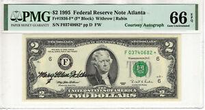 1995 $2 FEDERAL RESERVE STAR NOTE FR.1936-F* COURTESY AUTOGRAPH PMG GEM 66 EPQ