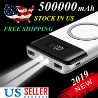 Wireless External Battery 500000mAh Power Bank 2 USB Charger Top Configuration