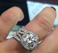 3.5Ct Cushion Cut Simulated Diamond Halo Ring with 2PCS Wedding Band Set S925