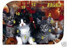 horloge pendule murale chat  prénom texte au choix réf F 26