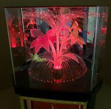 "Vintage Fiber Optic Color Changing Flower Clock Lamp 14.5"" Octagon Case ZENIX"
