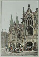 Lithografie koloriert 1833 - BRAUNSCHWEIG Rathaus - Samuel Prout
