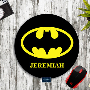 BATMAN BLACK & YELLOW  LOGO PERSONALIZED YOUR NAME CUSTOM ROUND MOUSE PAD MAT