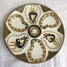 Quimper Oyster Plate vintage HB 9 inches