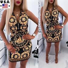 Womens Sleeveless Floral Summer Beach Party Dress Ladies Zipper V Neck Sundress