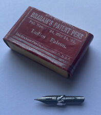 12 Calligraphy Nibs w/Reservoir Antique Braham's Pen Tips Ladies Falcon Pat 1894