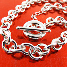 NECKLACE PENDANT CHAIN GENUINE REAL 925 STERLING SILVER S/F SOLID T'BAR DESIGN