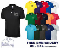 Personalised Embroidered Polo Shirts, Customised Workwear, Free Text Uneek UC101