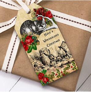 Alice In Wonderland Vintage Rustic Christmas Gift Tags (Present Favor Labels)