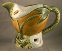 """Vintage Ceramic Pottery Calla Lily Footed Botanical Pitcher / Planter 6 1/2"""""""