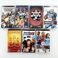 Sony PSP Games Lot Of 7 Pursuit Force, SmackDown vs Raw, Sims 2, Fifa Complete