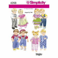 """Simplicity Sewing Pattern 4268 Baby Dolls Clothes Dress PJs Overalls Tops 15"""""""