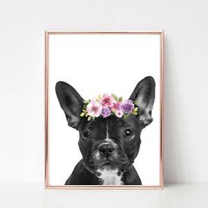 french bulldog dog print PICTURE WALL ART flower garland A4  unframed portrait
