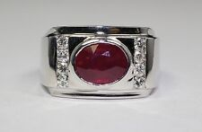 14K White Gold Diamond And Red Ruby Ring Size 9.75
