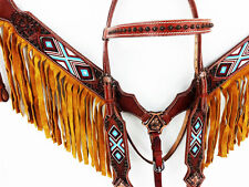 WESTERN HORSE BEADED BROWN FRINGE LEATHER BARREL HEADSTALL BRIDLE BREASTCOLLAR