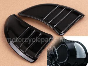 Black Tri Line Inner Fairing Mirror Filler Covers For Harley Ultra Limited FLHTK