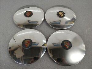 SET OF USED PORSCHE 356C 356SC 911 912 914-6 CHROME HUB CAPS W CENTER CAP NLA 23