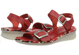 FLY LONDON COMB230FLY RED LIPSTICK LEATHER WEDGE SANDALS UK 7 EU 40 US 9 RRP £95
