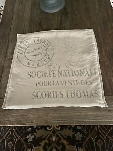 "Restoration Hardware Vintage French Grainsack SOCIETE NATIONALE Pillow Cover 22"""
