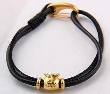 Shamballa leather charm bracelet lobster clasp Tibetan Gold Fukubukuro