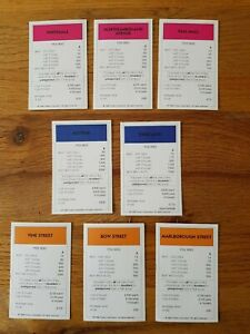 Vintage '96 Monopoly Spares Title Deeds Pink, Orange & Purple Mayfair Whitehall