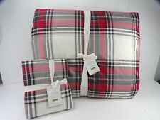 Pottery Barn Hamilton Plaid Reversible Cotton Queen Comforter w/ King Sham #7375