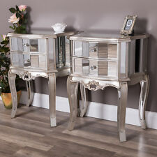 Silver Pair of Mirrored Bedside Tables Cabinet Venetian Chic Ornate 2 Drawer