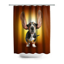 3D bathroom curtain Bassethound, Stylish curtains with pictures, Bright colors