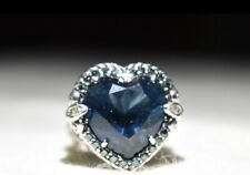 Judith Ripka Smithsonian Sterling London Blue Topaz & Diamond Heart Ring sz 5