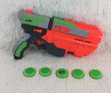NERF Vortex Vigilon Pistol Disc Blaster Toy Gun Foam Hasbro 2010 Tested