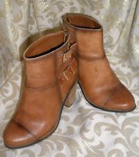 "Jessica Simpson ""Clarah"" 2 Buckle Chestnut Leather Ankle Biker Boots  Size 6M 36"
