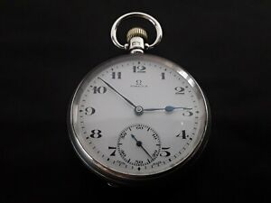 Vintage Omega solid silver pocket watch, dated 1924. Working.