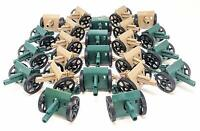 24 Pc Green Desert Army Battle Artillery Cannons with Moving Wheels
