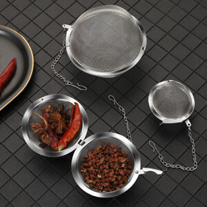 Stainless Steel Tea Strainer Infuser Filter Tea Ball Mesh Lid Home with Chain.。