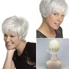 UK WIG POP Women Short Fluffy Charming Hair Silver White human hair Wigs Selling