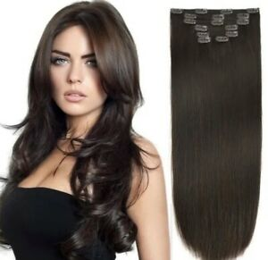 Kit Hair Extensions Clips Addition Head Complete 7 Bands 23 5/8in