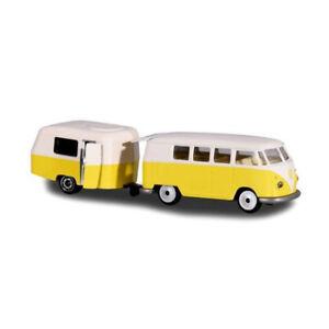 Majorette 212052014 VW T1 Bus Avec Caravane Jaune/Beige - Vintage 1:64 Neuf !°