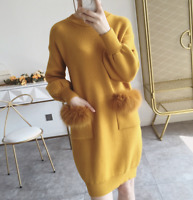 Cashmere Winter Women Long Pullover Sweater Dress Front With Pockets Loose Zsell