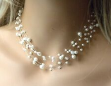 Pearl Illusion Choker Pendant Women Necklace Earrings New
